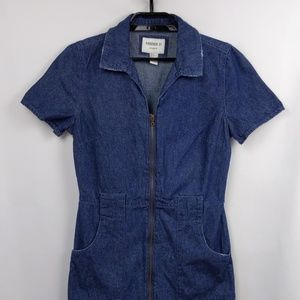 Forever 21 Small Zip Up Short Sleeve Denim Dress